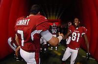 Aug 18, 2007; Glendale, AZ, USA; Arizona Cardinals quarterback Matt Leinart (7) with wide receiver Anquan Boldin (81) against the Houston Texans at University of Phoenix Stadium. Mandatory Credit: Mark J. Rebilas-US PRESSWIRE Copyright © 2007 Mark J. Rebilas