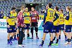 Enttäuschte Rhein Neckar Löwen - beim Bundesligaspiel: Rhein Neckar Loewen gegen SC DHfK Handball Leipzig am 15.10.2020 in der SAP-Arena in Mannheim<br /> <br /> Foto © PIX-Sportfotos *** Foto ist honorarpflichtig! *** Auf Anfrage in hoeherer Qualitaet/Aufloesung. Belegexemplar erbeten. Veroeffentlichung ausschliesslich fuer journalistisch-publizistische Zwecke. For editorial use only.
