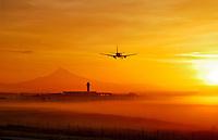 Airplane landing at PIA in Portland Oregon