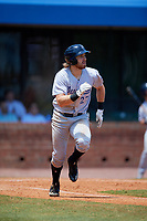 Pensacola Blue Wahoos third baseman Taylor Sparks (27) runs to first base during a game against the Mobile BayBears on April 26, 2017 at Hank Aaron Stadium in Mobile, Alabama.  Pensacola defeated Mobile 5-3.  (Mike Janes/Four Seam Images)