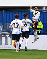 Marcus Browne of Oxford United right celebrates scoring the equaliser to make the score 1-1 during Portsmouth vs Oxford United, Sky Bet EFL League 1 Play-Off Semi-Final Football at Fratton Park on 3rd July 2020