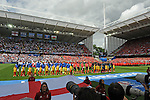 England and Wales line up for their national anthems at the Stade Bollaert-Delelis in Lens, France this afternoon during their Euro 2016 Group B fixture.