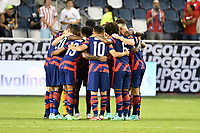 KANSAS CITY, KS - JULY 15: United States players in a pre game huddle during a game between Martinique and USMNT at Children's Mercy Park on July 15, 2021 in Kansas City, Kansas.