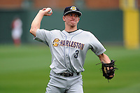 John Murphy (3) of the Charleston RiverDogs warms up before a game against the Greenville Drive on Monday, April 14, 2014, at Fluor Field at the West End in Greenville, South Carolina. Charleston won, 11-3. (Tom Priddy/Four Seam Images)