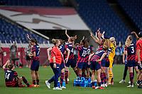 SAITAMA, JAPAN - JULY 24: The USWNT  wave at first Lady Jill Biden of USA during a game between New Zealand and USWNT at Saitama Stadium on July 24, 2021 in Saitama, Japan.