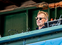 29 May 2021: Vermont Lake Monsters new President and Chief Operating Officer Chris English, watches play from the broadcast booth during a game against the Norwich Sea Unicorns at Centennial Field in Burlington, Vermont. The Lake Monsters defeated the Unicorns 6-3 in their FCBL Home Opener, the first home game played at Centennial Field post-Covid-19 pandemic. Mandatory Credit: Ed Wolfstein Photo *** RAW (NEF) Image File Available ***