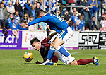 Arbroath v St Johnstone…15.08.21  Gayfield Park      Premier Sports Cup<br />Ricky Little and Glenn Middleton<br />Picture by Graeme Hart.<br />Copyright Perthshire Picture Agency<br />Tel: 01738 623350  Mobile: 07990 594431
