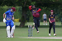 S Stanley in bowling action for Fives during Upminster CC vs Fives & Heronians CC, Hamro Foundation Essex League Cricket at Upminster Park on 5th June 2021