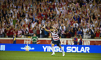 Columbus, Ohio - Tuesday, September 11, 2012: The USA defeated Jamaica 1-0 in the first round of World Cup Qualifying at Columbus Crew Stadium. Carlos Bocanegra scores on a free kick.