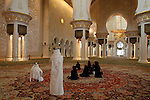 The interior view of the main prayer hall of Sheikh Zayed Mosque, Abu Dhabi. United Arab Emirates