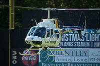 A New Jersey State Police helicopter hovers over the field prior to the game between the New Jersey Jackals and the Sussex County Miners at Skylands Stadium on July 29, 2017 in Augusta, New Jersey.  The Miners defeated the Jackals 7-0.  (Brian Westerholt/Four Seam Images)