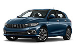 Stock pictures of low aggressive front three quarter view of 2021 Fiat Tipo Life 5 Door Hatchback Low Aggressive