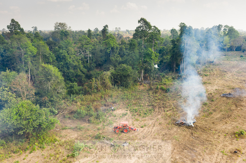 A tractor clears land on the edge of the forest in the Beng Per Wildlife Sanctuary, in northern Cambodia. The sanctuary is a sanctuary in name only, as most of the land has been sold by the government for agricultural concessions. The South East Asian country has one of the fastest rates of deforestation in the world and it is estimated only 3% of primary forest is left throughout the country. Forest clearance is fuelled by demand for agricultural land and high value species of tree for the Asian furniture market.
