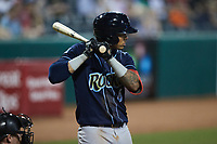 Gilbert Lara (6) of the Wilmington Blue Rocks at bat against the Greensboro Grasshoppers at First National Bank Field on May 25, 2021 in Greensboro, North Carolina. (Brian Westerholt/Four Seam Images)