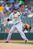 Louisville Bats starting pitcher Donovan Hand (36) in action against the Charlotte Knights at BB&T BallPark on May 12, 2015 in Charlotte, North Carolina.  The Knights defeated the Bats 4-0.  (Brian Westerholt/Four Seam Images)