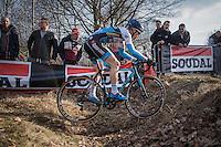 Kevin Pauwels (BEL/Marlux - Napoleon Games) crossing the ditch<br /> <br /> men's race<br /> CX Soudal Classics Leuven/Belgium 2017