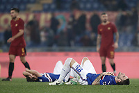 Calcio, Serie A: AS Roma - Sampdoria, Roma, stadio Olimpico, 28 gennaio 2018. <br /> Sampdoria's players celebrate after winning 1-0 the Italian Serie A football match between AS Roma and Sampdoria at Rome's Olympic stadium, January 28, 2018.<br /> UPDATE IMAGES PRESS/Isabella Bonotto
