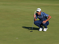 18th July 2021; Royal St Georges Golf Club, Sandwich, Kent, England; The Open Championship Golf, Day Four; Collin Morikawa (USA) studies his birdie putt on the 18th green
