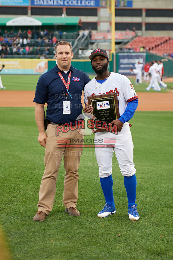 Buffalo Bisons center fielder Roemon Fields (37) is presented with the teams Most Valuable Player Award before a game against the Pawtucket Red Sox on August 31, 2017 at Coca-Cola Field in Buffalo, New York.  Buffalo defeated Pawtucket 4-2.  (Mike Janes/Four Seam Images)