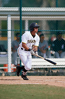 Pittsburgh Pirates Bligh Madris (44) follows through on a swing during an Instructional League game against the Detroit Tigers on October 6, 2017 at Pirate City in Bradenton, Florida.  (Mike Janes/Four Seam Images)