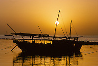Kuwait October 1966.  Dhow at Sunset inside the Sief Breakwater.