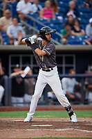 Quad Cities River Bandits third baseman David Hensley (15) at bat during a game against the West Michigan Whitecaps on July 22, 2018 at Modern Woodmen Park in Davenport, Iowa.  West Michigan defeated Quad Cities 6-4.  (Mike Janes/Four Seam Images)