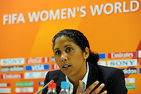 OC-Chief Steffi Jones reacts at a press conference during the FIFA Women's World Cup at the FIFA Stadium in Dresden, Germany on July 10th, 2011.