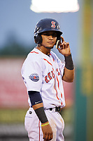 Salem Red Sox shortstop Santiago Espinal (5) during the first game of a doubleheader against the Potomac Nationals on June 11, 2018 at Haley Toyota Field in Salem, Virginia.  Potomac defeated Salem 9-4.  (Mike Janes/Four Seam Images)