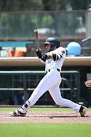 Mike Stefanic (23) of the Inland Empire 66ers bats against the Lake Elsinore Storm at San Manuel Stadium on June 5, 2019 in San Bernardino, California. (Larry Goren/Four Seam Images)