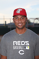 Ian Kahaloa (82) of the AZL Reds poses for a photo before a game against the AZL Brewers at the Cincinnati Reds Spring Training Complex on July 5, 2015 in Goodyear, Arizona. Reds defeated Brewers, 9-4. (Larry Goren/Four Seam Images)