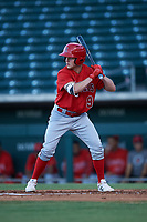 AZL Angels designated hitter Spencer Brown (9) at bat during an Arizona League game against the AZL Cubs 1 on June 24, 2019 at Sloan Park in Mesa, Arizona. AZL Cubs 1 defeated the AZL Angels 12-0. (Zachary Lucy / Four Seam Images)