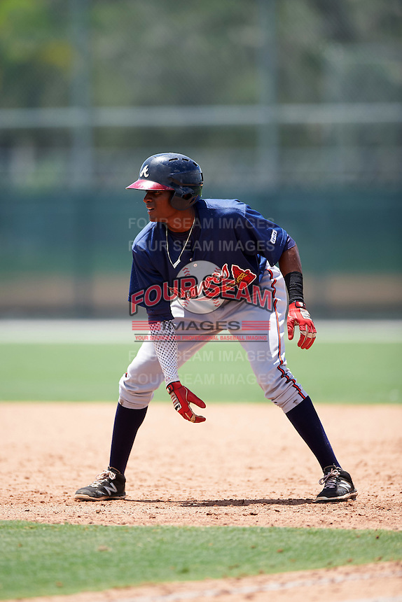 GCL Braves third baseman Alex Aquino (1) leads off first during a game against the GCL Pirates on August 10, 2016 at Pirate City in Bradenton, Florida.  GCL Braves defeated the GCL Pirates 5-1.  (Mike Janes/Four Seam Images)