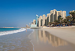 United Arab Emirates, Dubai: white sand beach in front of the Sheraton Jumeirah Beach Hotel, with the Jumeirah Beach Residence apartment buildings