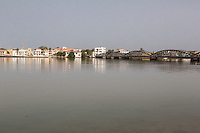 Senegal, Saint Louis.  View from the Mainland, across the River Senegal, showing Pont Faidherbe, built 1897.