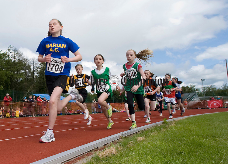 Ciara O' Brien in first place during the Munster Track and Field Juvenile Championships at Lees Road. Photograph by Declan Monaghan