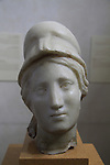 Head of Athena, Jericho, Roman period, marble, found in Hisham Palace where it was used as a secondary building material, on display at the Rockefeller Museum