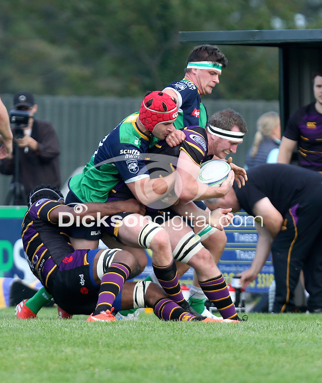 Saturday 25th September 2021<br /> <br /> Robert Whitten is tackled by Tagen Strydom during the Ulster Conference League clash between Ballynahinch 2s and Instonians at Ballymacarn Park, Ballynahinch, County Down, Northern Ireland. Photo by John Dickson/Dicksondigital