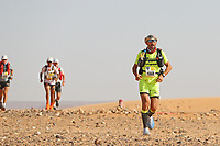 4th October 2021; Tisserdimine to Kourci Dial Zaid;  Marathon des Sables, stage 2 of  a six-day, 251 km ultramarathon, which is approximately the distance of six regular marathons. The longest single stage is 91 km long. This multiday race is held every year in southern Morocco, in the Sahara Desert. Merile Robert (FRA) stretches the pack