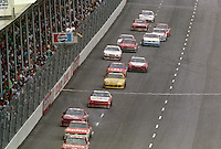 A pack of cars in action during the Southern 500 at Darlington Raceway in Darlington, SC in September 1988. (Photo by Brian Cleary/www.bcpix.com)