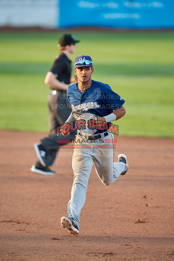 Pablo Abreu (12) of the Helena Brewers during the game against the Ogden Raptors at Lindquist Field on July 14, 2018 in Ogden, Utah. Ogden defeated Helena 8-6. (Stephen Smith/Four Seam Images)