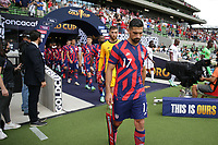 AUSTIN, TX - JULY 29: Sebastian Lletget #17 of the United States leads the USMNT onto the field during a game between Qatar and USMNT at Q2 Stadium on July 29, 2021 in Austin, Texas.