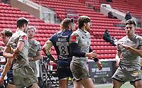 5th February 2021; Ashton Gate Stadium, Bristol, England; Premiership Rugby Union, Bristol Bears versus Sale Sharks; Sale Sharks players celebrate Luke James' try
