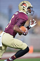 Texas State wide receiver Brandon Smith (5) returns a kick during first half of an NCAA football game, Tuesday, October 14, 2014 in San Marcos, Tex. Louisiana Lafayette leads 21-3 at the halftime. (Mo Khursheed/TFV Media via AP Images)
