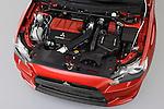 High angle view of the engine on a 2008 Mitsubishi Lancer Evolution