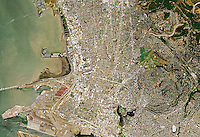 aerial photo map of Oakland and Emervyille California, the east span Bay Bridge and the Port of Oakland, 2005