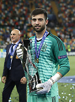 Football: Uefa under 21 Championship 2019 Final, Spain - Germany Dacia Arena, Udine Italy on June 30, 2019.<br /> Spanish goalkeeper Antonio Sivera holds the trophy after winning the Uefa under 21 Championship 2019 at the Dacia Arena in Udine, Italy on June 30, 2019.<br /> UPDATE IMAGES PRESS/Isabella Bonotto