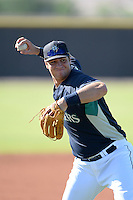 Seattle Mariners third baseman Lachlan Fontaine (9) during practice before an Instructional League game against the Milwaukee Brewers on October 4, 2014 at Peoria Stadium Training Complex in Peoria, Arizona.  (Mike Janes/Four Seam Images)