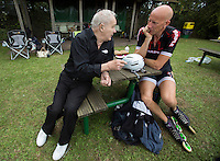 11 AUG 2013 - BIRMINGHAM, GBR - Leo Eason (left), who won the men's World 10000m title 50 years ago in 1963 and current British 10000m champion Sutton Atkins (centre) talk during the 2013 Federation of Inline Speed Skating British Outdoor Championships at Birmingham Wheels Park, Birmingham, Great Britain (PHOTO COPYRIGHT © 2013 NIGEL FARROW, ALL RIGHTS RESERVED)