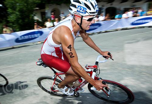 24 JUN 2012 - KITZBUEHEL, AUT - Andrew Yorke (CAN) of Canada on the bike during the elite men's 2012 World Triathlon Series round in Schwarzsee, Kitzbuehel, Austria (PHOTO (C) 2012 NIGEL FARROW)