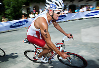 24 JUN 2012 - KITZBUEHEL, AUT - Andrew Yorke (CAN) of Canada on the bike during the elite men's 2012 World Triathlon Series round in Schwarzsee, Kitzbuehel, Austria (PHOTO (C) 2012 NIGEL FARROW)